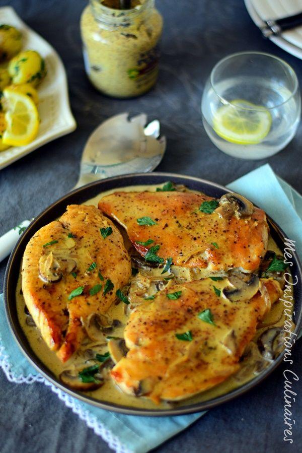 Escalope de poulet sauce moutarde et champignons #sauce #mushroomchicken #mushroom #mustard #chickenrecipes #chickendinner #easyrecipe