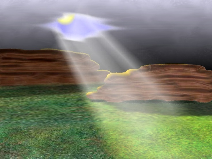 Ray of Hope - zBrush & PhotoDraw - The rocks and grass were created in zBrush (trial) as individual object, brought into PhotoDraw where I drew in from the horizon, up.