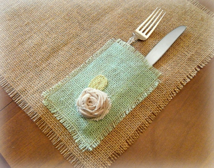 Love these :) Burlap Placemats, with Hand Dyed Mint Green Napkin/Utensil Holders from TheBeatnik on Etsy
