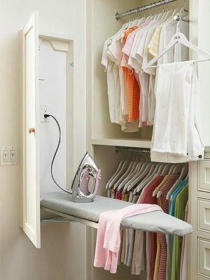 Ironing board in closet