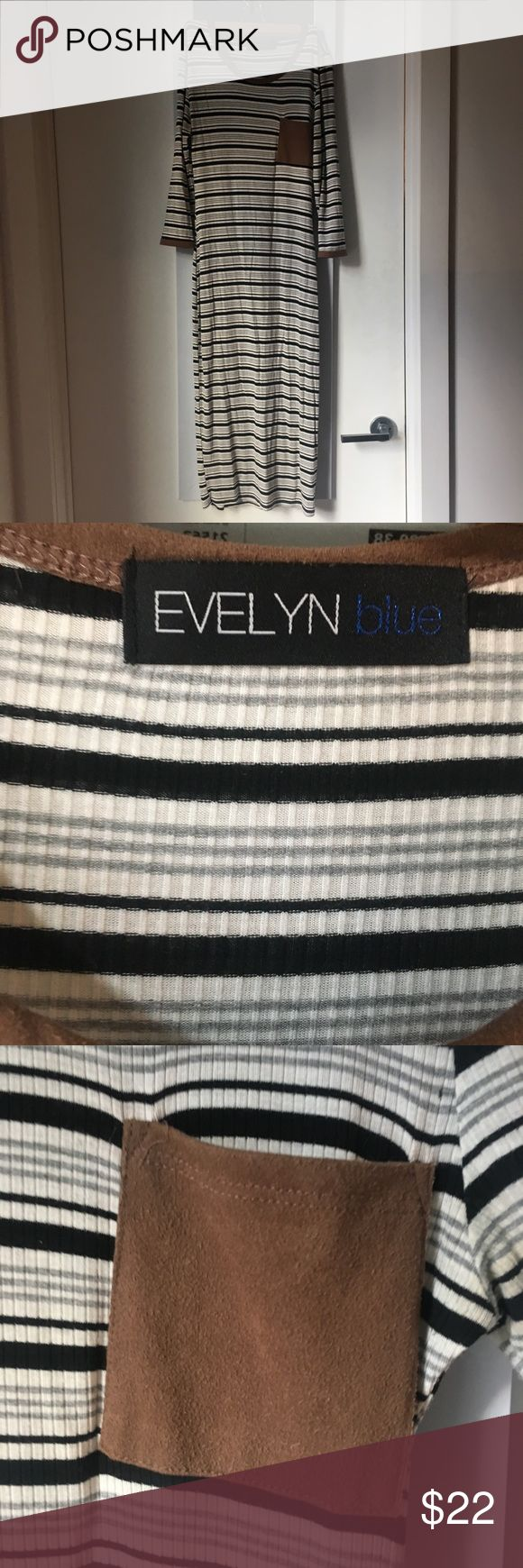 Long striped bodycon dress with suede details This dress is a go to for a weekend day out. So comfortable with stretch and goes perfect with a long overcoat and booties.  The length measures 46 inches from shoulder to hem. Size L but fits like a women's 6. Evelyn Blue Dresses Midi