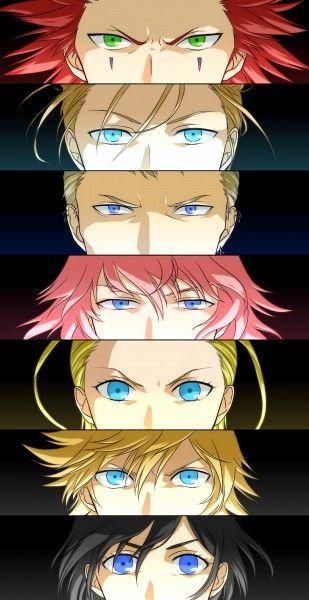 Axel, Demyx, Luxord, Marluxia, Larxene, Roxas and Xion. Fan art. Kingdom Hearts 358/2 Days.