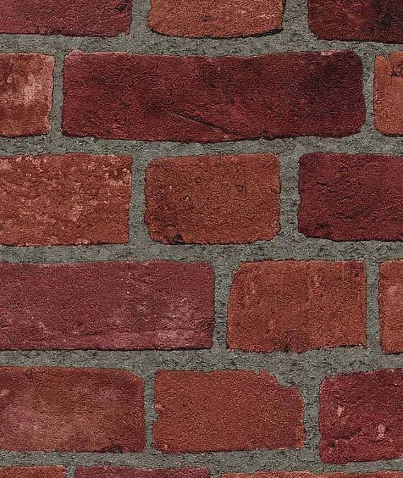 Faux Natural Brick And Mortar Wall In Red Gray Grout