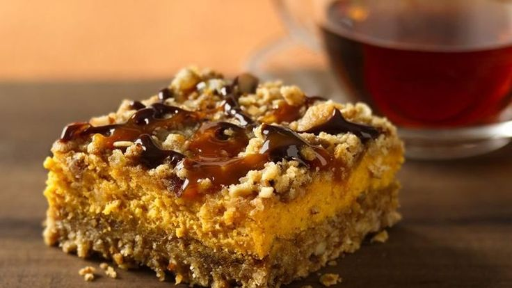 Prize-Winning Recipe 2008! Chocolate and caramel drizzles add a new flavor punch to creamy pumpkin-oat bars.