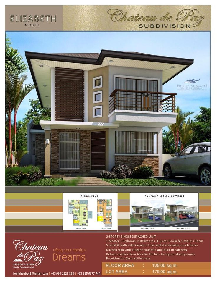 Victoria Model. A Modern Asian Architectural Designed 2-storey pure single detached structure with a Master's bedroom, 2 bedrooms, 1 guest room, 1 maid's room, 5 toilet and baths and an option for a 1 or 2 car garage. Lot area is 179 sq.m. land with a floor area of 125 sq.m.