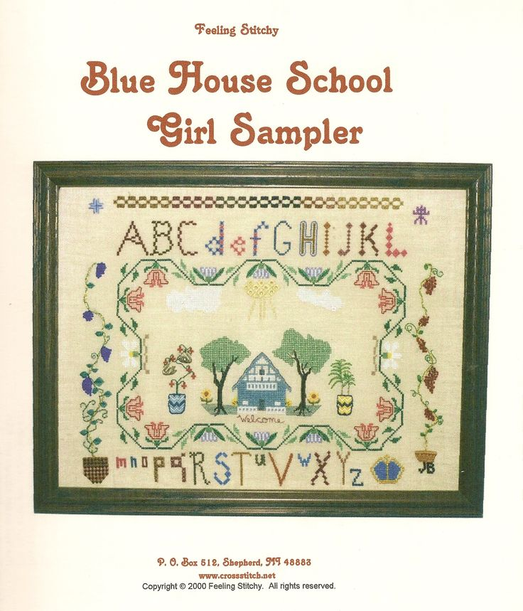 I used a huge variety of specialty stitches and flosses, beads and techniques. The house is actually the house we lived in located in West Branch. Glad to have moved to CMU!