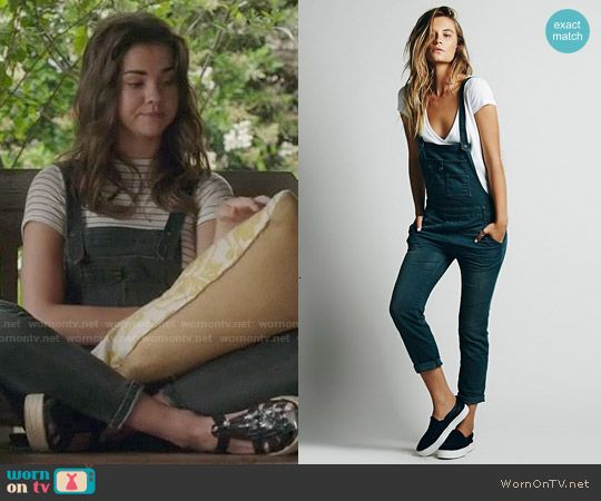 Callie's denim overalls and striped tee on The Fosters.  Outfit Details: http://wornontv.net/49804/ #TheFosters