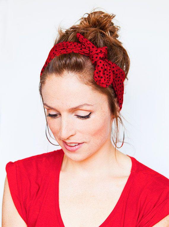 Dolly Bow Red Polka Dot Headband Pinup Rockabilly by MinitaStudio