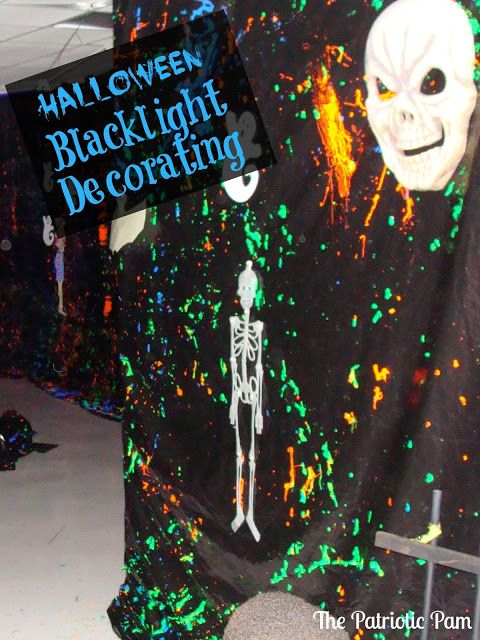 Great ideas for Black Light decorating for Halloween.  See list of many household things that will glow under a black light!