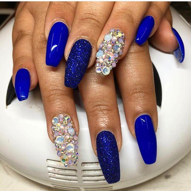 Royal blue glitter crystal nail art