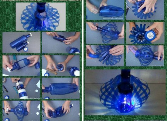 DIY lamp with two plastic bottles