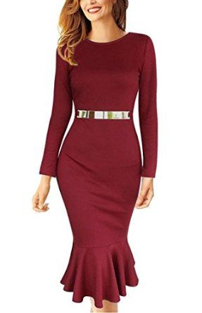 REPHYLLIS Women Long Sleeve Fishtail Wear to Work Cocktail Party Evening Dress, Long Sleeve.  http://www.amazon.com/gp/product/B01AFOTS5S/ref=as_li_tl?ie=UTF8&camp=1789&creative=9325&creativeASIN=B01AFOTS5S&linkCode=as2&tag=longsleevedress10-20&linkId=O72EXPEFCUO56OL4