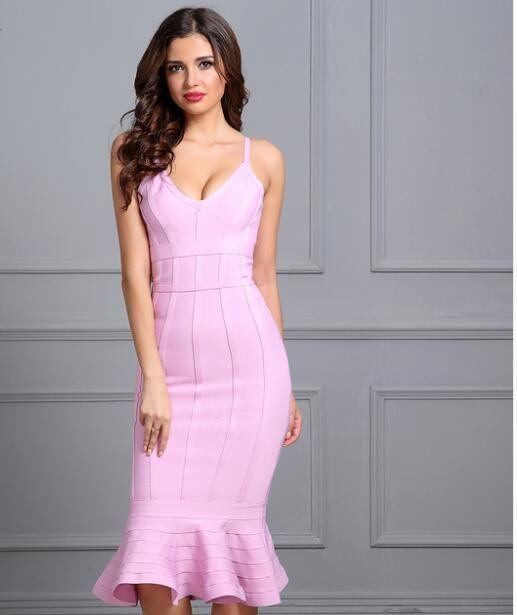d13c29a40d8 Women Spring Bandage Dress 2018 Pink Spaghetti Strap Mermaid Vestidos  V-Neck Knee Length Celebrity Evening Party Dresses in 2019 | Womens Linen  Dresses ...