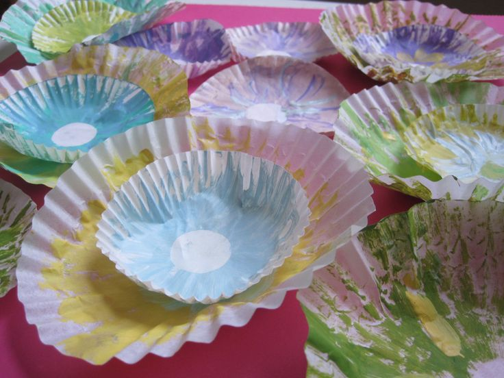 """Cupcake Liner Poppies... Loved making these with bingo dobbers.  Also folded and cut """"petals in the liners after drying (a.g. idea) and green handprint cutouts (a.p. idea) on a pipe cleaner stem.  2015 tlc"""