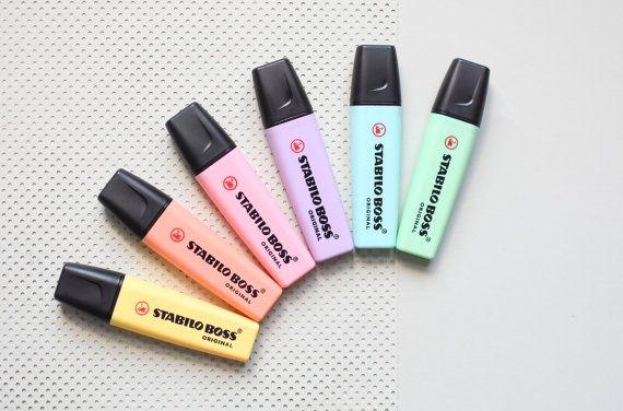 6 Pastel Highlighters, Stabilo Boss highlighting pens, pastel pens, colored pens, Stabilo pens