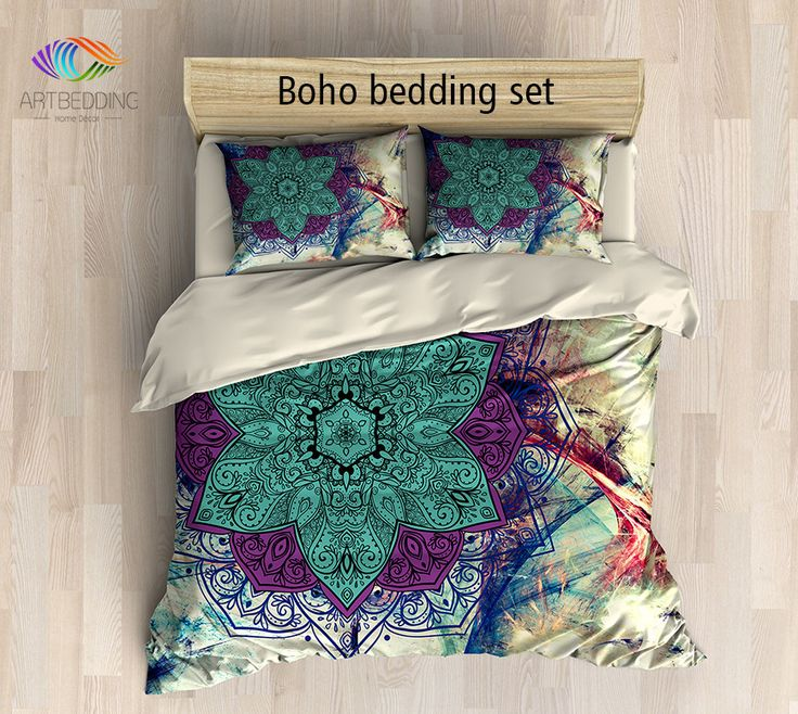 Bohemian bedding, Mandala queen / king / full / twin duvet cover set, Flower sacred balance lotus mandala duvet cover set, Boho chic duvet cover set, mandala bedding set