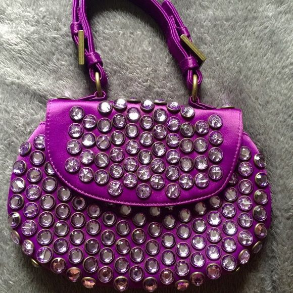 Vintage royal purple Betsey Johnson bag Vintage unique beaded small purple clutch bag Betsey Johnson Bags