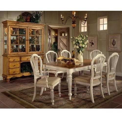 Hillsdale Furniture 4508DTBRCTCSC Wilshire Rectangle Dining Set by Hillsdale Furniture. $1829.00. Assembly Required Light Assembly. Blend of cottage styling with country accented details. Blend of Americana and English Country. Finish Light Wood. Includes 6 Chairs. Finish:Antique White, Chair Option:4 Side Chairs + 2 Arm Chairs The Wilshire collection features a blend of cottage styling with country-accented details. The blend of Americana and English Country give...