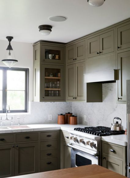 grey green cabinets marble in kitchen home decor pinterest
