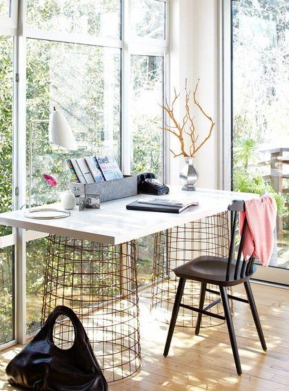 loving the desk and floor to ceiling windows.: Offices Desks, Tables Legs, Offices Design, Diy Desks, Offices Spaces, Computers Desks, Wire Baskets, Desks Ideas, Home Offices