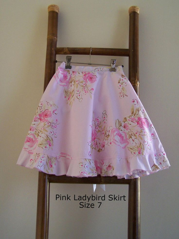 Pink Ladybird Skirt with Flower Print Size 7