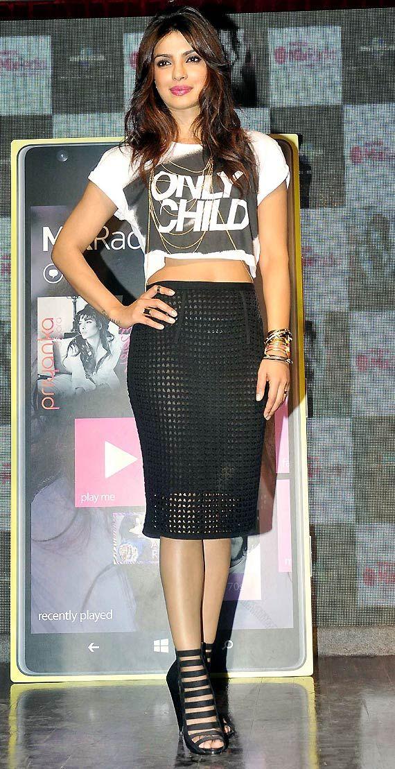 Risqué! Priyanka Chopra dons transparent skirt at 'I Can't Make You Love Me' launch (see pics)