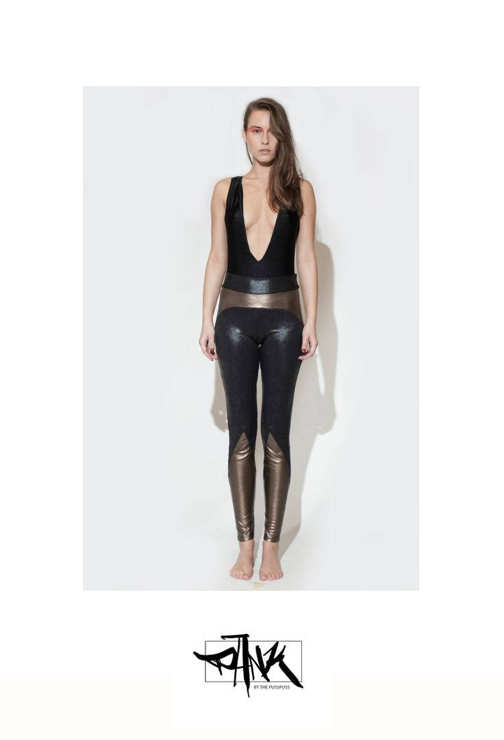 These leggings are made of elastic copper colored leatherette and spandex.  100% sweatshop free, made in EU with love.  For surprises and infos check out our Facebook page:  https://www.facebook.com/PANKbythePussPuss