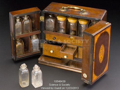 Medicine chest, containing accessories, c.1830.