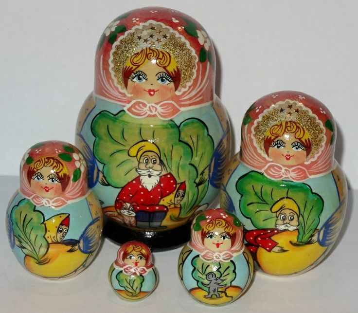 "Russian Dolls  - ""The Turnip"" Fairytale Babushka Doll, $43.99 (http://www.russiandolls-boutique.com/nesting-dolls/the-turnip-fairytale-babushka-doll/)"