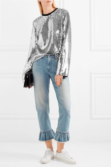 MSGM | Distressed ruffle-trimmed high-rise straight-leg jeans | NET-A-PORTER.COM