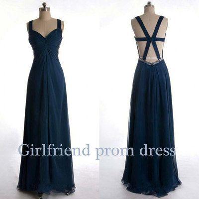 Amazing handmade deep blue long halter prom dress, graduation dress, bridesmaid dress #coniefox #2016prom