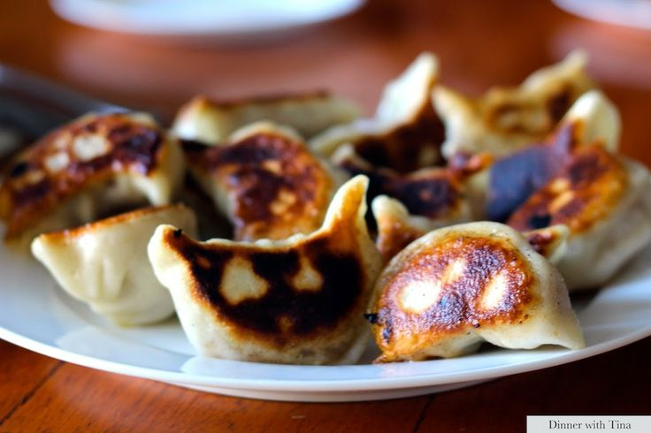 Pan fried dumplings made from scratch in the Thermomix