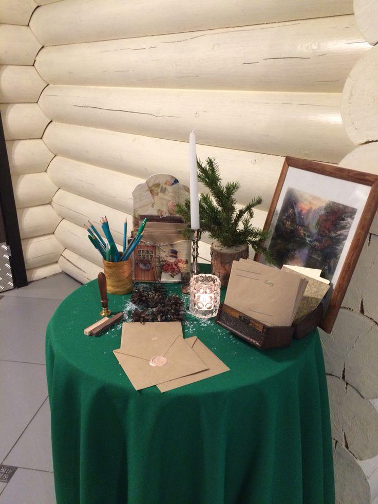 Оформление стола для пожеланий от гостей на зимней свадьбе