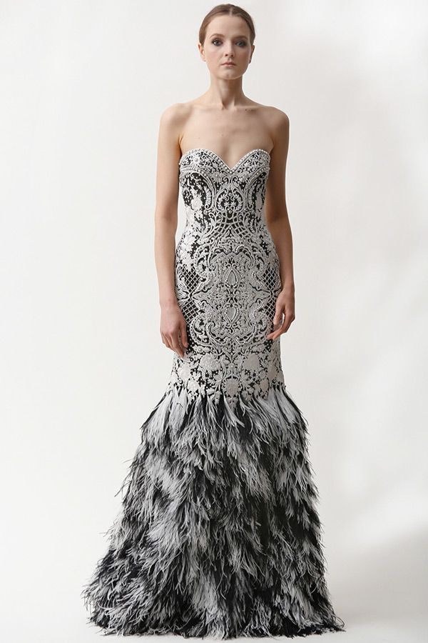 naeem khan prefall 2015 couture dresses strapless heartshape neckline victorian motifs feather bottom mermaid gown