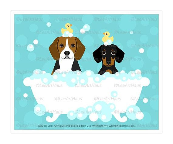 37d Dog Print Two Dachshunds In Bubble Bath Wall Art Red Etsy Dachshund Print Bath Wall Art Dog Print
