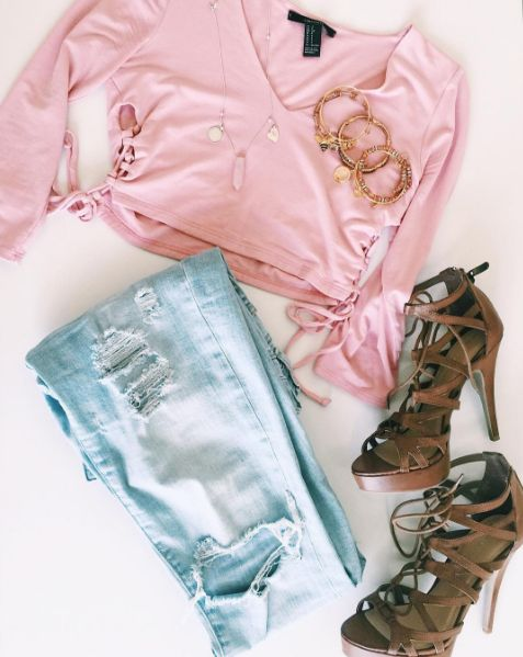 Ripped jeans and pink tones | ALEX AND ANI Necklace | ALEX AND ANI Charm Bangles