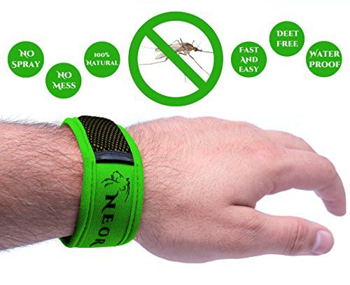 Mosquito Repellent Bracelet NEOR - Zika Virus Prevention - Effectively Repels Insect and Mosquitoes - All Natural & Strong Pest Control Repeller for Babies, Kids, Adults on Travel - NO DEET, NO SPRAY & WATERPROOF - Enjoy 30 Day Outdoor Protection with 2 Plant Refills (Green) *** ADDITIONAL INFO…