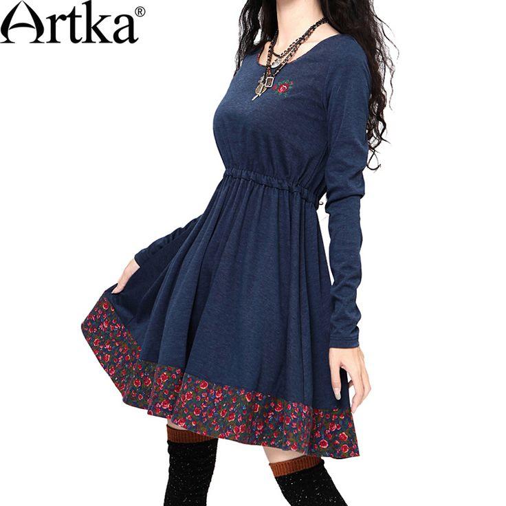 Трикотажное платье А-силуэта с талией на резинке и широкой бейкой по низу