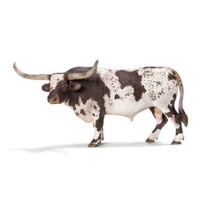 Solid plastic Toy Farm Animal from Schleich, made to last and perfect as a collectable or a gift. Analogous to its name, the Texas Longhorn bull has handlebar-like horns on its head.