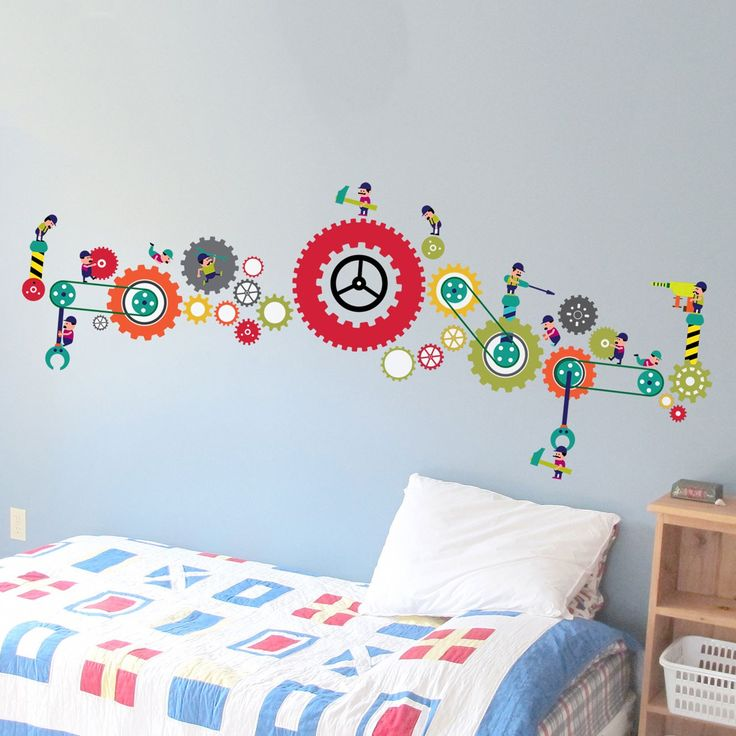 Embellish your kid's room with this mechanical wall decal from Engrave.