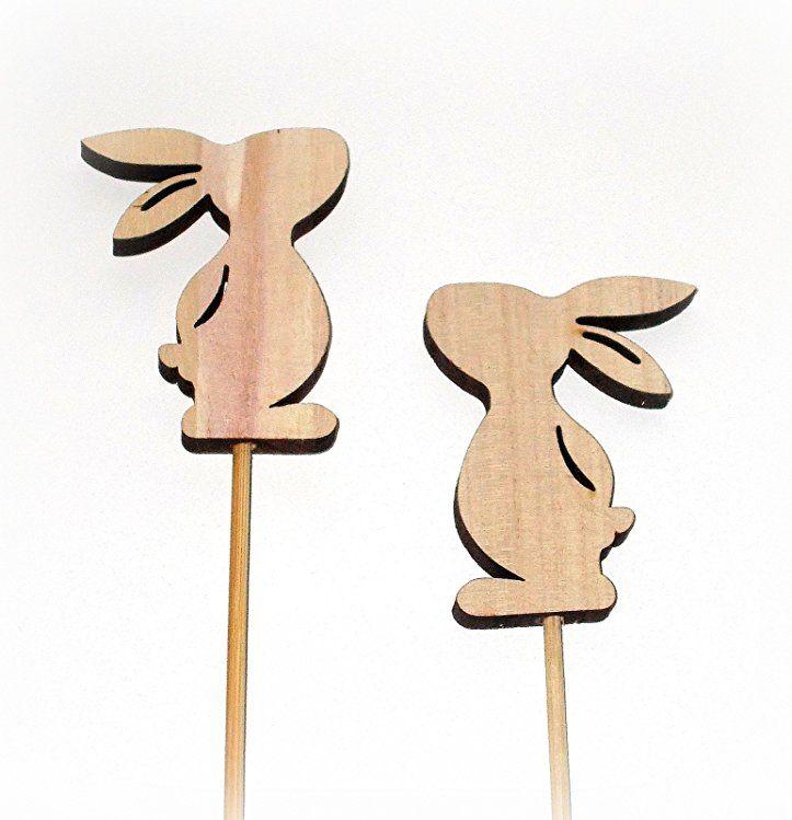 Dekostecker Hase Aus Holz 6er Set Osterdeko Osterhase Tischdeko