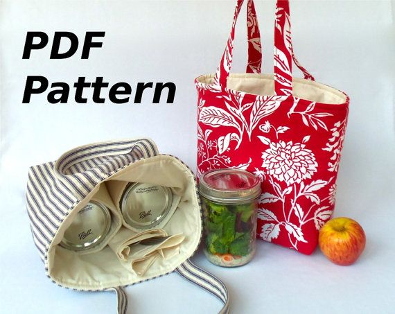 Jars to Go Bag Pattern - instant download mason jar lunch bag PDF - now in quart, pint and half-pint sizes on Etsy, $5.00