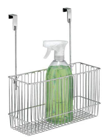 mDesign Cestino Organizzatore da Armadietto Cucina per Fogli di Alluminio, Buste, Prodotti per la Pulizia - Cromo
