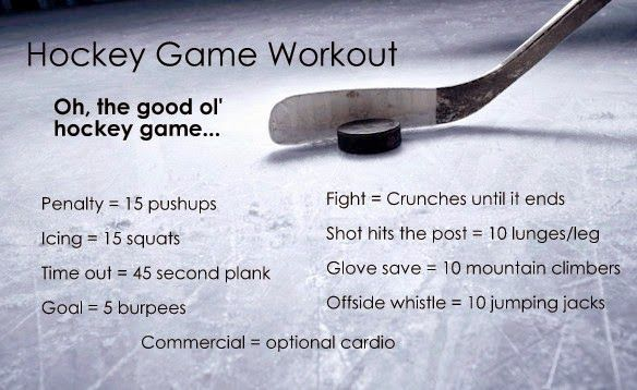 Hockey game workout! Exercise while watching NHL on TV.
