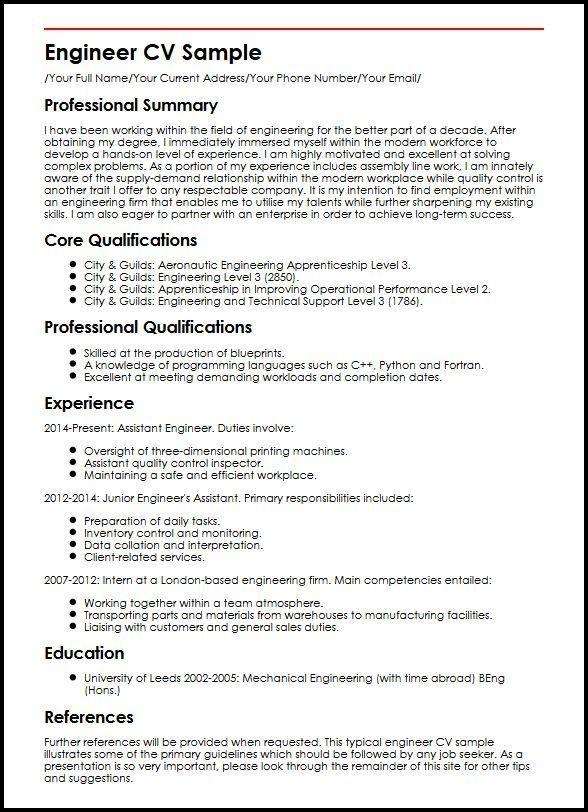 Engineer Cv Sample Curriculum Vitae Builder Cv Examples Engineering Resume Engineering Resume Templates Cv Template Word