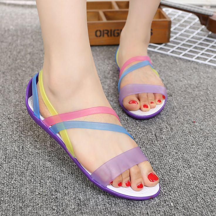 summer Transparent women Beach Wear shoes flats Female rainbow Footwear open toe lady Peep Toe woman jelly Sandals pink purple