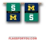 Michigan Wolverines House Divided Outdoor Hanging Banner - 1 lef