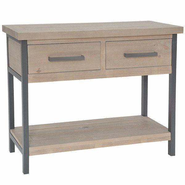 Elegant Industrial Lowry Reclaimed Wood Console Table