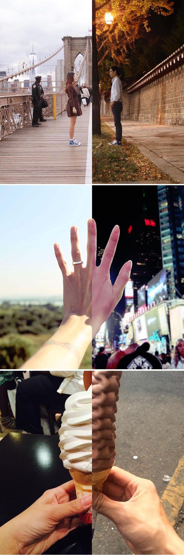 Long Distance Couple Stays Connected through Split Portraits of Parallel Experiences