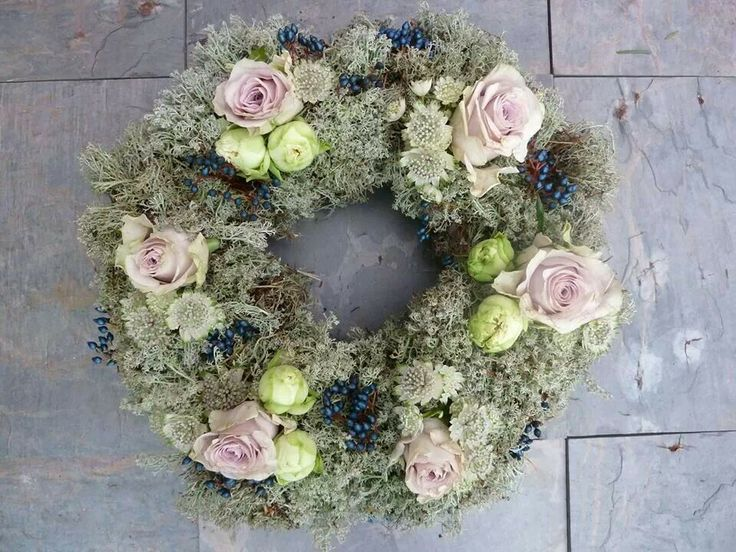 Funeral flowers can be beautiful. Moss & Rose wreath by www.tincanfloral.co.uk
